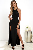 LuLu*s Stem Spells Black Racerback Maxi Dress