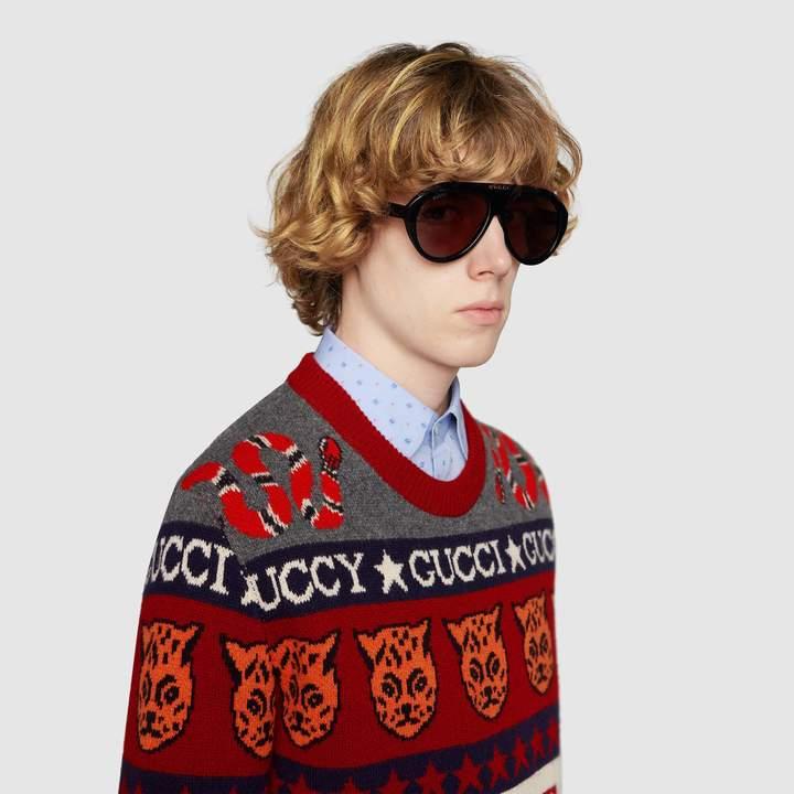 Gucci Navigator sunglasses with DoubleG