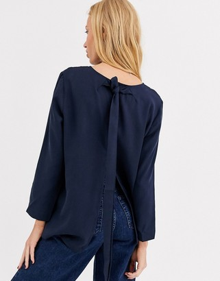 Selected tie back blouse-Blue
