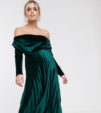 ASOS DESIGN Maternity velvet long sleeve bardot pleated midi dress