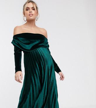 Asos DESIGN Maternity velvet long sleeve bardot pleated midi dress-Green