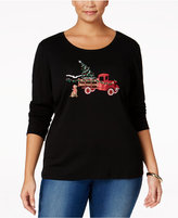 Karen Scott Plus Size Holiday Truck Graphic Top, Only at Macy's
