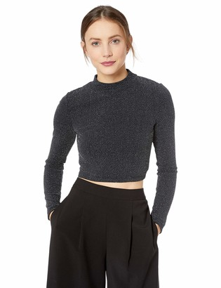 BCBGeneration Women's TIE Back Crop Long Sleeve Knit TOP