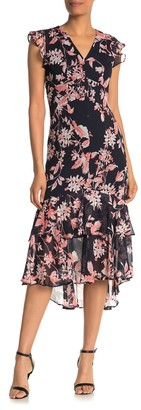 Tommy Hilfiger Floral Print High/Low Midi Dress