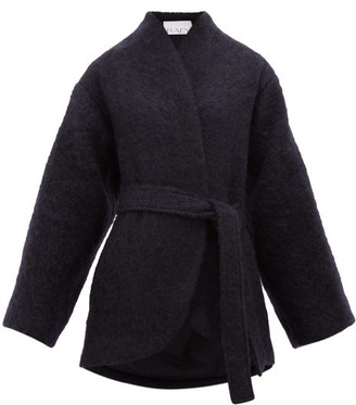 Raey Collarless Belted Mohair-blend Coat - Navy