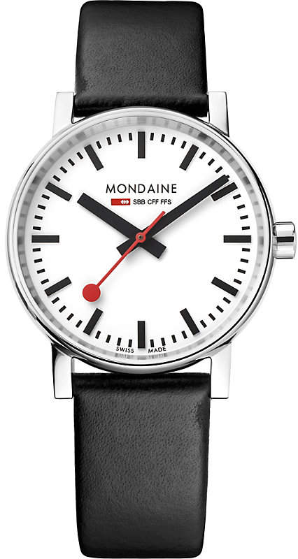 Mondaine MSE-35110-LB evo2 leather and stainless steel watch