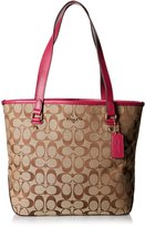 Coach 36375 Signature Zip Top Tote Shoulder Bag Khaki/cranberry