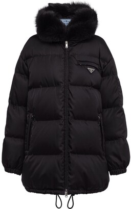 Prada Faux-Fur Trim Hood Padded Coat