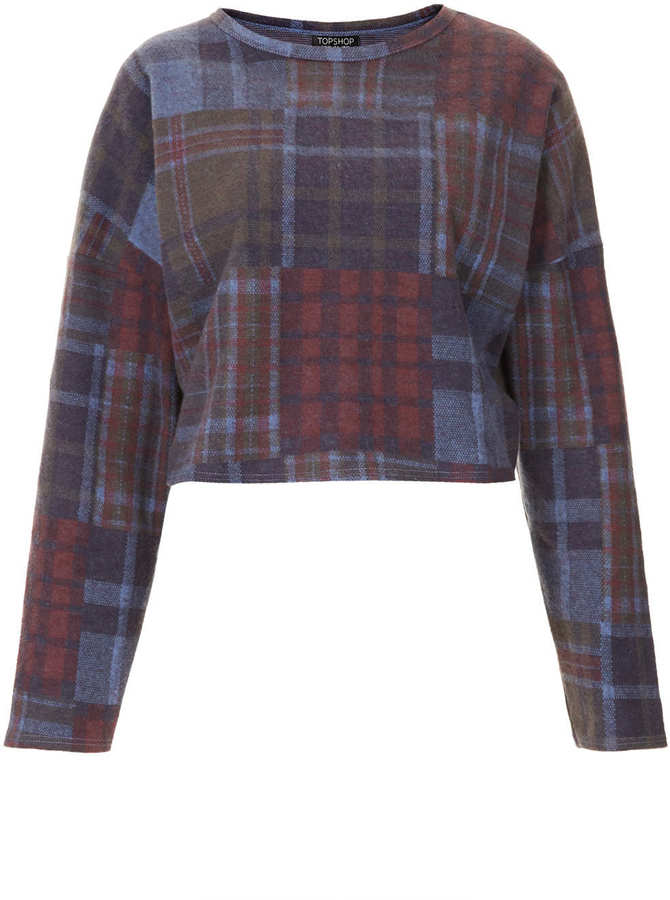 Topshop Brushed check sweat