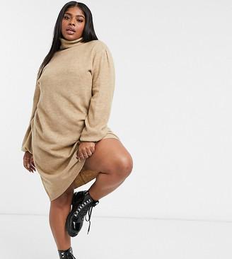 Urban Bliss Plus roll neck dress in beige