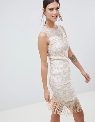 C By Cubic Sequin Fringe Midi Dress-Gold