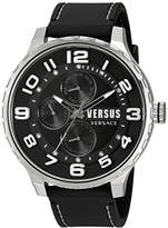 Versus By Versace Men's 'Globe' Quartz Stainless Steel and Rubber Casual Watch, Color:Black (Model: SBA120015)