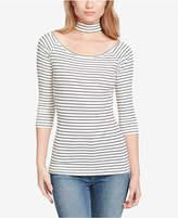 Jessica Simpson Juniors' Tamary Striped Rib-Knit Choker Top