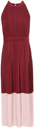 Joie Aleanna Pleated Two-tone Crinkled Crepe De Chine Midi Dress