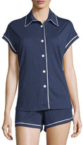 Cosabella Bella Short-Sleeve Boxer Pajama Set, Navy/Ivory