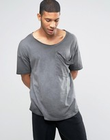 Asos Oversized Longline T-Shirt With Drape Pocket And Scoop Neck In Pigment Dye