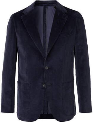 Caruso Indigo Unstructured Cotton-Blend Corduroy Suit Jacket