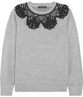 Marc Jacobs Crochet-trimmed Cotton-blend Jersey Sweatshirt - Gray