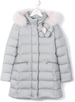 Fendi floral padded down jacket - kids - Polyester/Rabbit Fur/Feather Down - 4 yrs