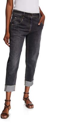 Brunello Cucinelli Straight-Leg Cuffed Jeans