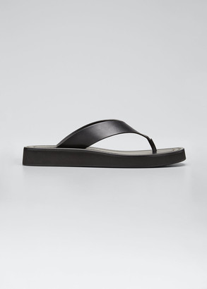 The Row Ginza Leather Low-Wedge Sandals