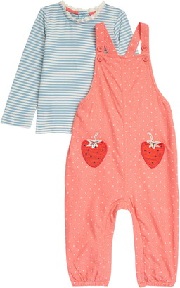Boden Stripe T-Shirt & Strawberry Patch Dungaree Overalls Set
