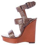 Bottega Veneta Embossed Wedge Sandals
