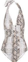 Heidi Klein Tobago Snake-print Plunge Swimsuit - White