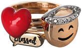 BCBGeneration Gold-Plated Angel Emoji Ring Set