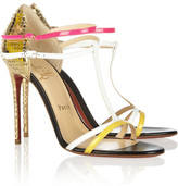 Christian Louboutin Arnold 100 patent-leather and mirrored-python sandals
