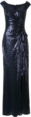 Tadashi Shoji Cross Shoulder Sequin Gown