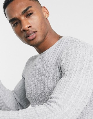 ASOS DESIGN muscle fit lightweight cable knit jumper in grey