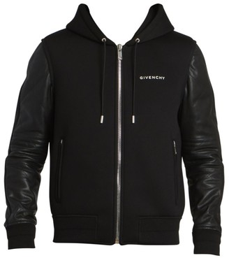 Givenchy Leather Sleeve Hooded Zip-Up Jacket