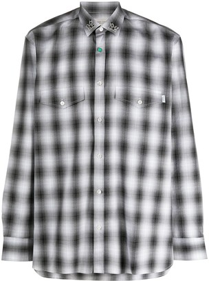 Golden Goose Collar Embellished Checked Shirt