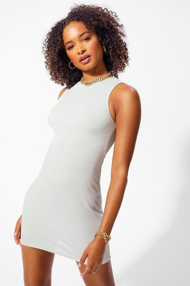 boohoo Racer Front Bust Seam Detail Rib Bodycon Dress