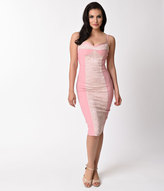 Stop Staring Vintage Style Light Pink Lace Virginia Wiggle Dress