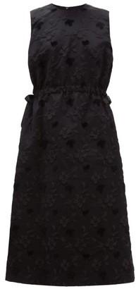 Noir Kei Ninomiya Floral Fil-coupe Tulle-underskirt Dress - Womens - Black