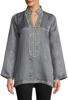 Bella Tu Marilyn Long-Sleeve Crystal Embellished Tunic w/ Mandarin Collar