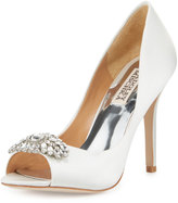 Badgley Mischka Lavender II Crystal Satin Pump, White