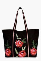 boohoo Mia Floral Embroidered Shopper Bag black