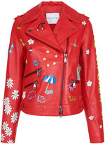 Mira Mikati Red Painted Never Grow Up Leather Jacket