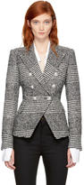 Balmain Black and White Houndstooth Six-Button Blazer
