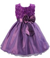 Evaliana Flower Girl Ball Gown Kids Rosette Bowknot Wedding Evening Party Dress