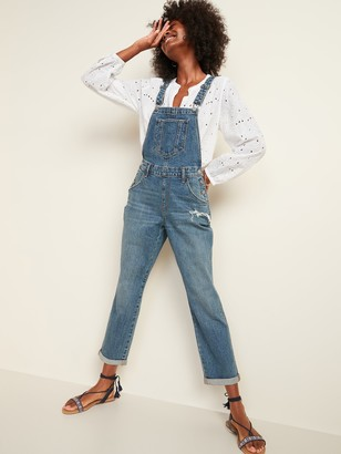 Old Navy Distressed Boyfriend Jean Overalls for Women