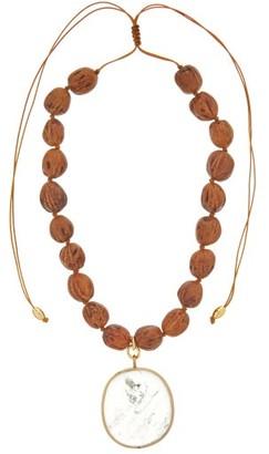Tohum Theia Quartz & Seed-bead Choker - Brown