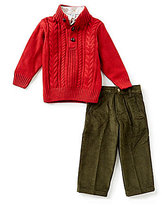 Class Club Little Boys 2T-7 Sweater, Checked Shirt & Corduroy Pants Set