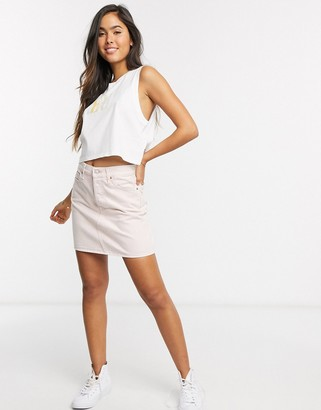 Levi's deconstructed denim skirt in pink