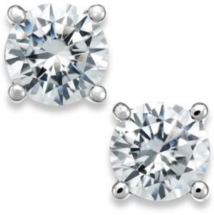 X3 Diamond Stud Earrings in 18k White Gold (1-1/2 ct. t.w.), Created for Macy's