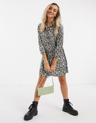 JDY philippa 3/4 sleeve shirt dress in black floral print