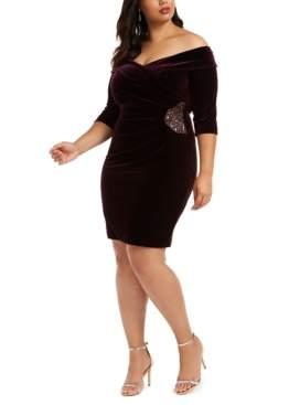 Alex Evenings Plus Size Velvet Embellished Sheath Dress